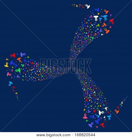 Unknown Person fireworks swirl rotation. Vector illustration style is flat bright multicolored iconic symbols on a blue background. Object whirl created from random pictographs.