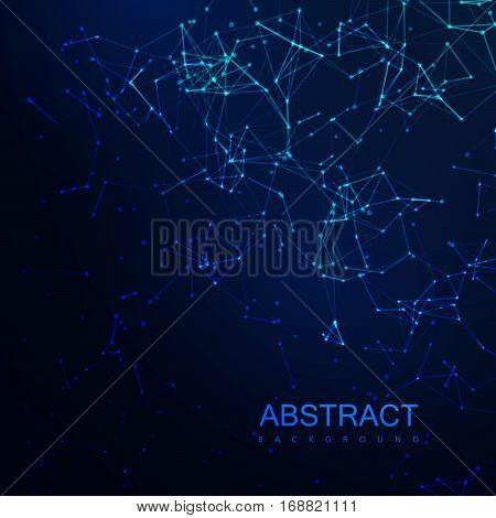 Plexus Lines And Particles Background. Vector Technology Illustration Of Futuristic Polygonal Cyber Structure. Data Connection Concept.