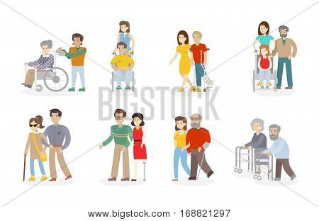 Isolated disability set on white background. Disabled people with relatives, assistants and nurses. Help and need.