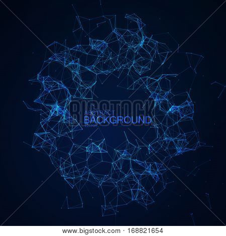 Plexus Lines And Particles Background. Vector Technology Illustration Of Futuristic Polygonal Cyber Structure. Virtual Cloud Data Connection Concept.