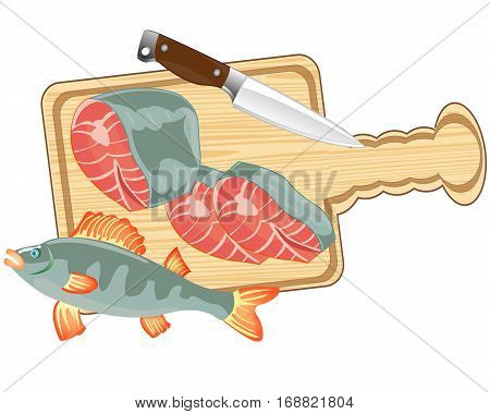 Piece of fish on white background is insulated