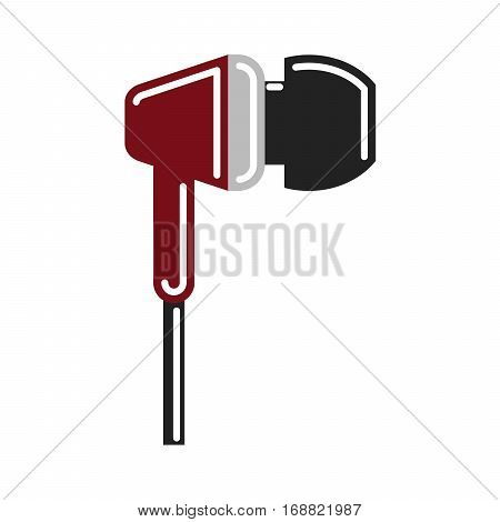 Isolated earphones on white background. Headphone and earphone. Audio equipment.