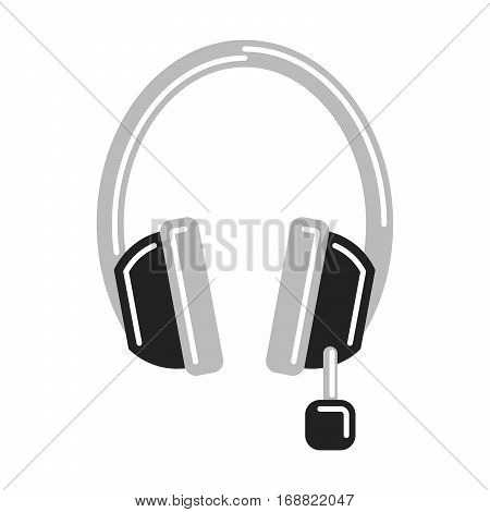 Isolated headphones with microphone on white background. Headphone and earphone. Audio equipment.
