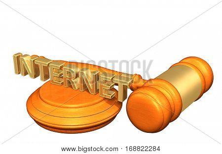 Internet Legal Gavel Concept 3D Illustration