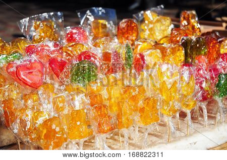 Colorful sweet lollipops candies. Close up on lollipops candies.