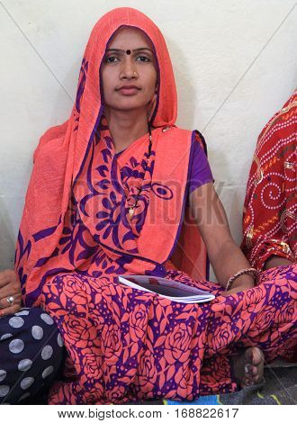 Young Girl Is Visiting Educational Center In Jaipur, India
