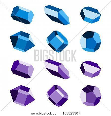 mineral crystal stone blue magenta vector