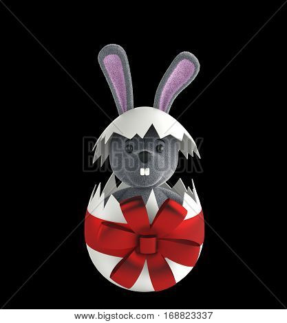 Cute Rabbit and easter eggs. 3d rendering