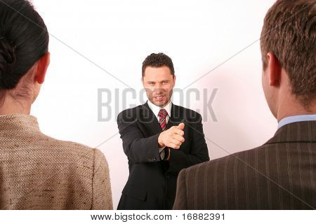 Handsome business man pointing at man - 1