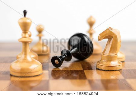 Chess game. Chess king is checkmated chess game over