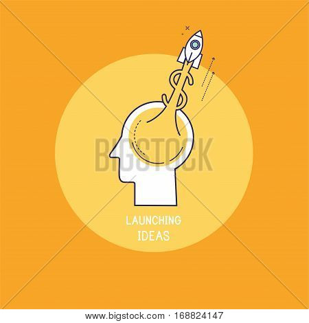 Jet rocket dollar with flame rising upwards from a human brain. vector illustration