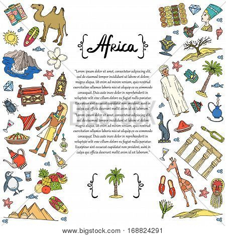Decorative cover with hand drawn colored symbols of Africa on white background. Illustration on the theme of travel and tourism. Vector background for use in design