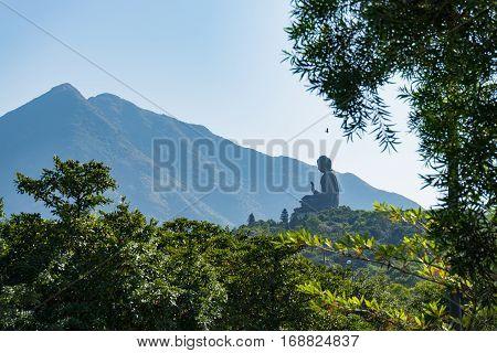 The Enormous Tian Tan Big Giant Buddha  In Hong Kong