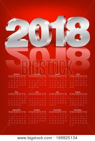 Calendar 2018 red colored happy new year holyday A format template with metal 3d numbers. Week starts from sunday. Vector A4 A3 A2 sizes compatible
