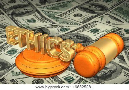 Ethics Legal Gavel Concept 3D Illustration