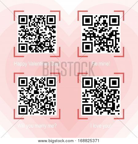 Vector illustration of Qr code samples on valentine holiday and love theme placed on heart background. Scanned Qr-codes read I love you, Be mine, Happy Valentines Day, Will you marry me