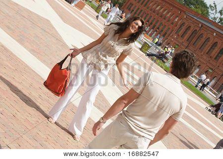couple on the shopping having quarrel