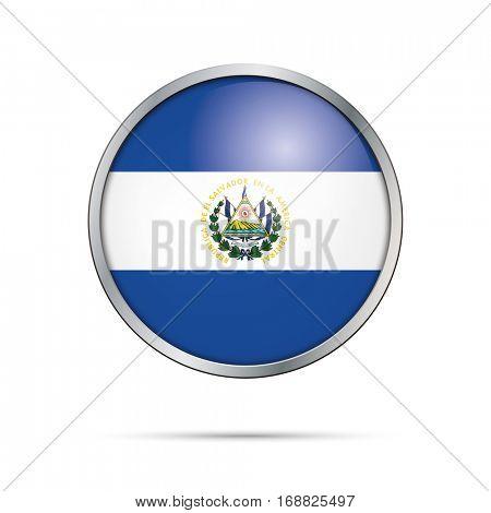 Vector Salvadorian flag button. El Salvador flag glass button style with metal frame.
