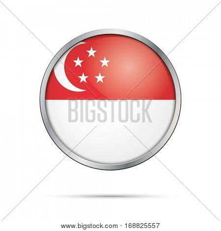 Vector Singaporean flag button. Singapore flag glass button style with metal frame.