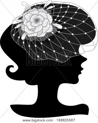 Illustration Featuring the Outline of a Young Woman Wearing an Elaborate Floral Headdress