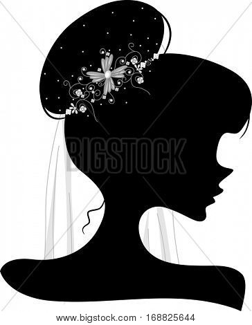 Illustration Featuring the Outline of a Young Woman Wearing a Bridal Veil