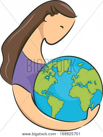 Conceptual Illustration Featuring a Young Woman Embracing a Giant Globe