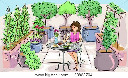 Illustration of a Woman Having a Peaceful Breakfast in a Container Garden