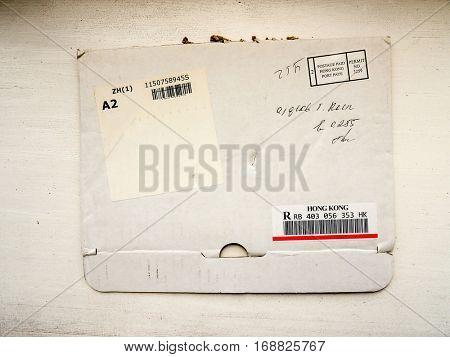 GOMEL, BELARUS - SEPTEMBER 27, 2016: Old envelope which was dispatched from Hong Kong to Gomel, Belarus,September 27, 2016.