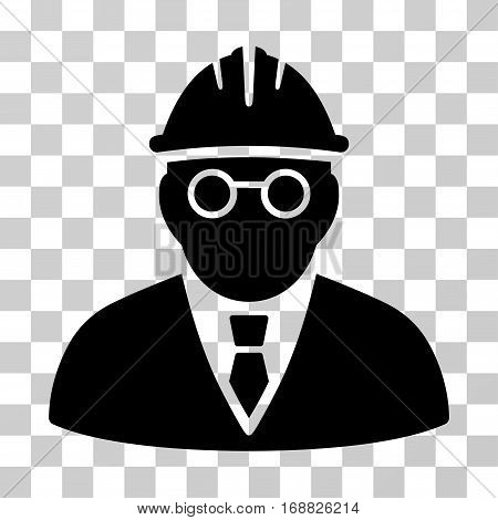 Clever Engineer icon. Vector illustration style is flat iconic symbol, black color, transparent background. Designed for web and software interfaces.