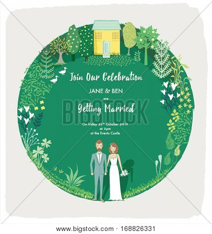 ILLUSTRATED WEDDING INVITATION CARD TEMPLATE. Editable vector illustration file.