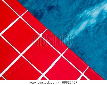 Vivid Red ceramic tile beside the swimming pool