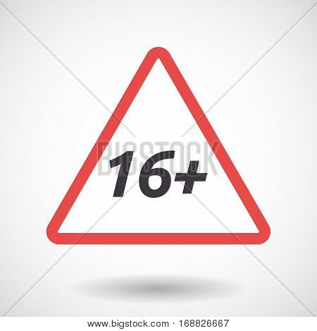Isolated Warning Signal With    The Text 16+