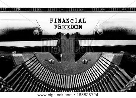 financial freedom Typed Words On a Vintage Typewriter Conceptual