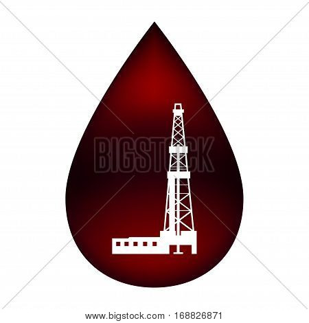 Silhouette of the rig in a drop of oil.