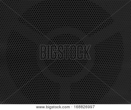 Background Pattern Horizontal Texture of Black Metallic Perforated Grid with Copy Space for Text Decorated.