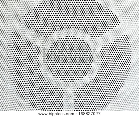 Background Pattern Horizontal Texture of White Metallic Perforated Grid with Copy Space for Text Decorated.
