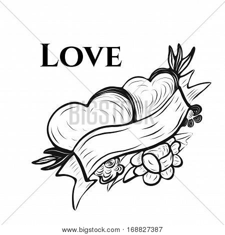 Vector illustration of Valentine's greeting card in tattoo ink style with typography