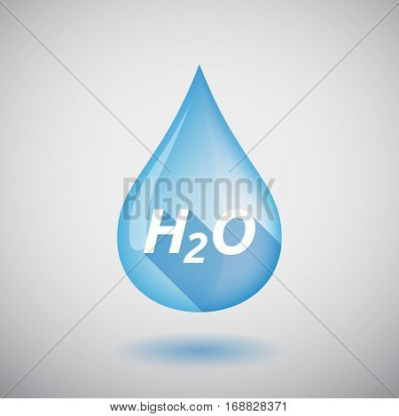 Long Shadow Water Drop With    The Text H2O