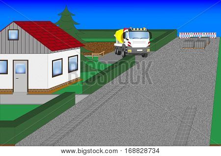Street works and House Construction with cement Mixer