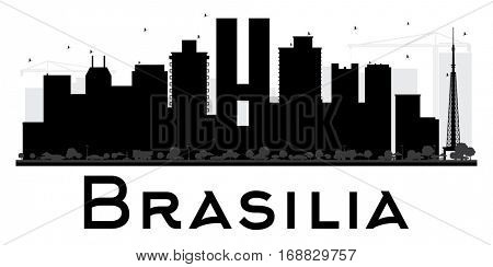 Brasilia City skyline black and white silhouette. Simple flat concept for tourism presentation, banner, placard or web site. Business travel concept. Cityscape with landmarks.