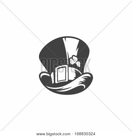 Hat Leprechaun Isolated on white background vector icon in retro style. Can be used for logo or badge.