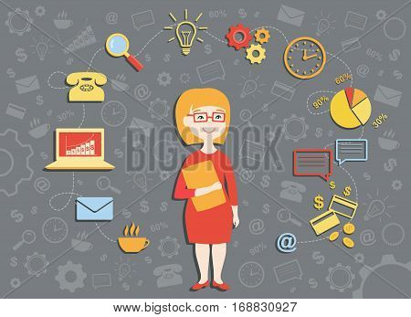 Vector illustration of young business woman, personal assistant or hard working busy secretary