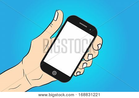 Touch phone in hand the choice of phone smartphone in hand isolated. Different gadgets set. blue gradient
