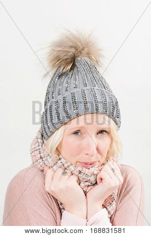 Chilling Lady In Scarf And Pom Winter Beanie Copy Space