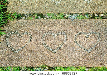 Slabs pavement cement stone with heart shapes