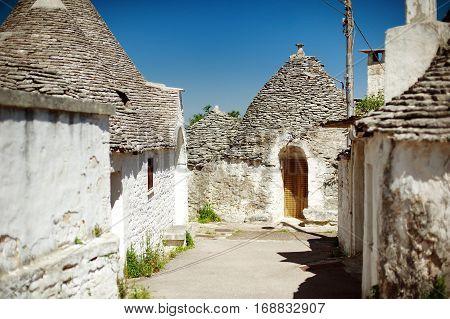 Trulli houses in unesco world heritage town of Alberobello, Apulia, southern Italy