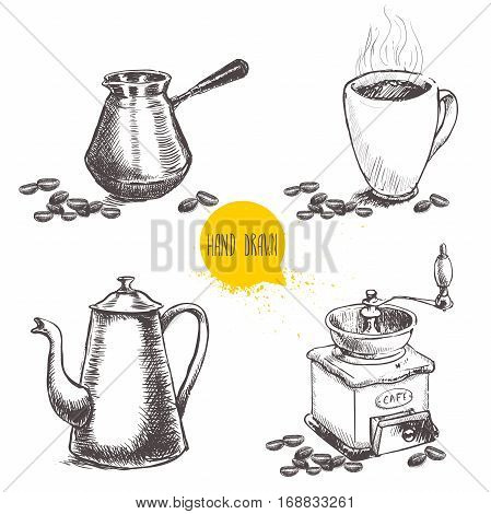 Hand drawn coffee set with coffee beans. Sketch style. Isolated on white background. Coffee mill turkish coffee pot cezve vintage coffee pot and mug of coffee.