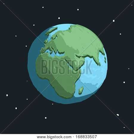cartoon earth in space.Cartoon childish vector illustration