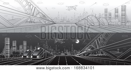 Automobile highway, infrastructure and transportation panorama, airplane fly, train move on the bridge, two locomotives in depot, day and night city, towers and skyscrapers, urban scene, vector design art
