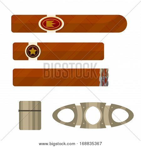 Cigars with metallic lighter and guillotine tool vector illustration set.